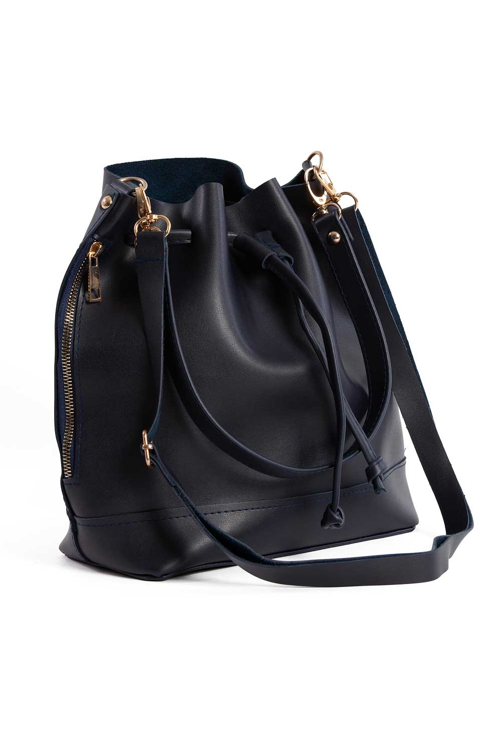 MIZALLE Drawstring Hand And Shoulder Bag (Dark Blue) (1)
