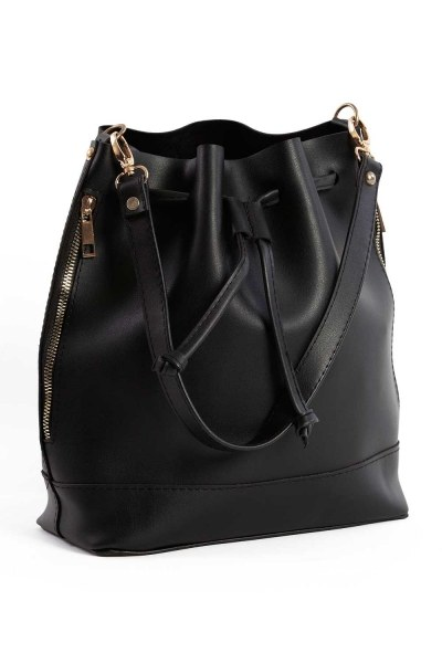 Drawstring Hand And Shoulder Bag (Black) - Thumbnail