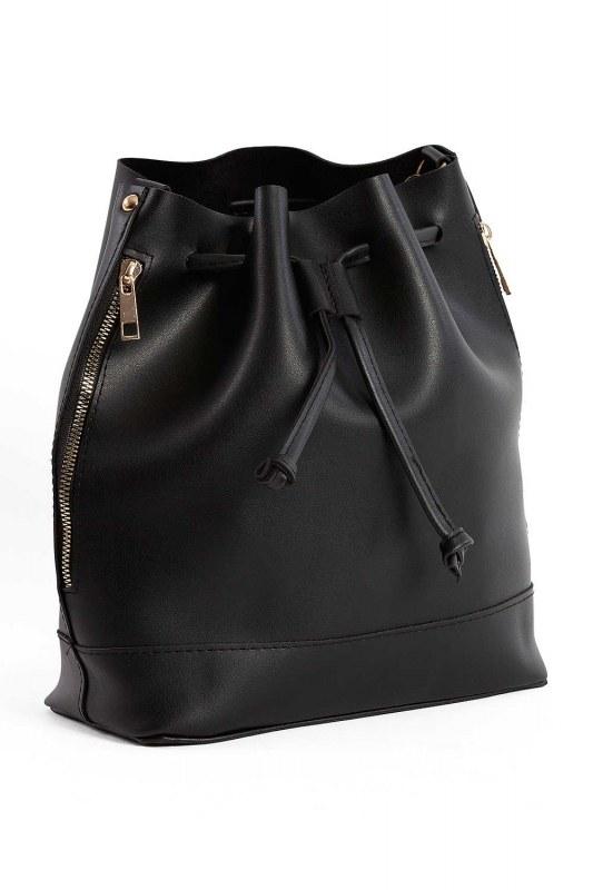 Drawstring Hand And Shoulder Bag (Black)