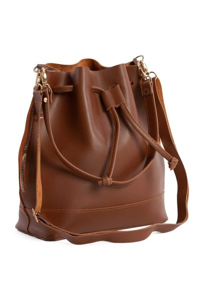 MIZALLE Drawstring Hand And Shoulder Bag (Light Brown)