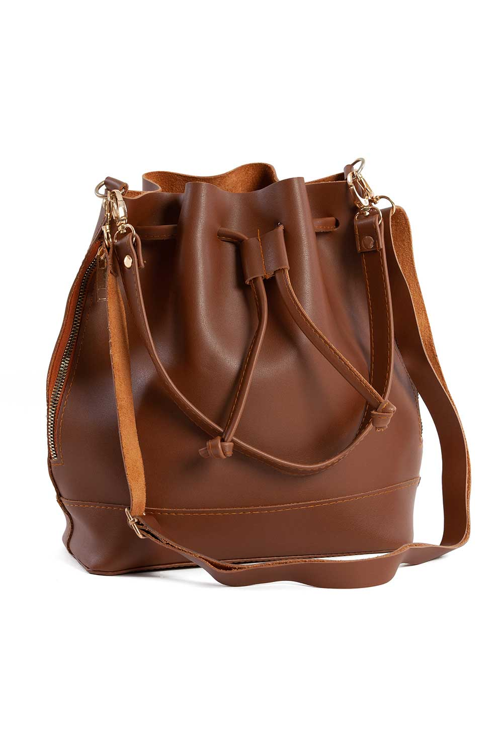 MIZALLE Drawstring Hand And Shoulder Bag (Light Brown) (1)