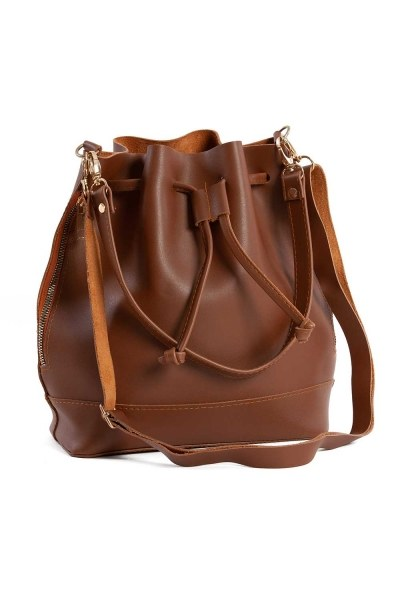 MIZALLE - Drawstring Hand And Shoulder Bag (Light Brown) (1)