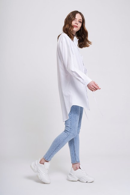 İp Cepli Gömlek (Beyaz) - Thumbnail