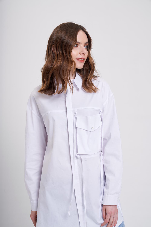 İp Cepli Beyaz Gömlek