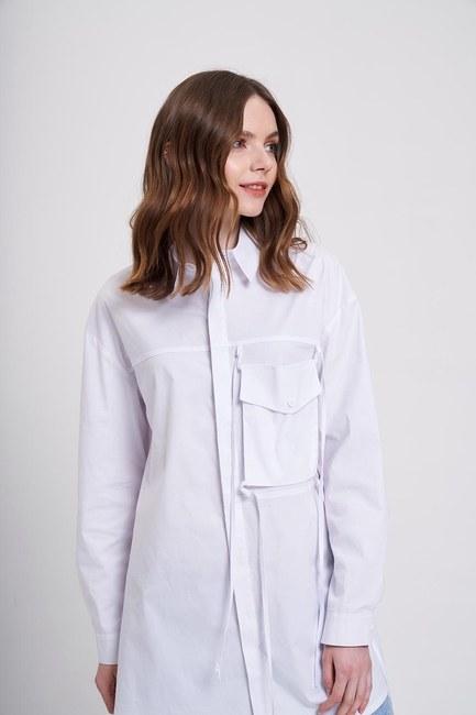 Mizalle - İp Cepli Gömlek (Beyaz)
