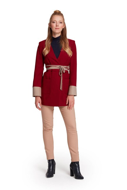 Rope Belt Unlined Jacket (Claret Red) - Thumbnail
