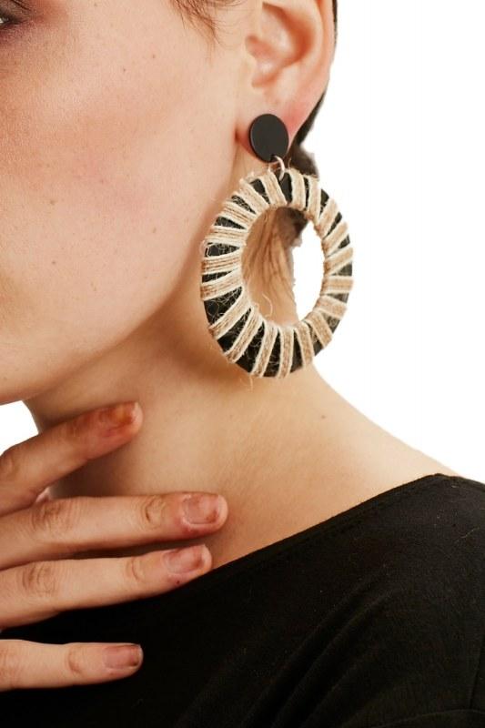 Rope-Wound Hoop Earrings (Brown)