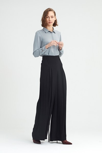 Rope Drooping Trousers (Black) - Thumbnail