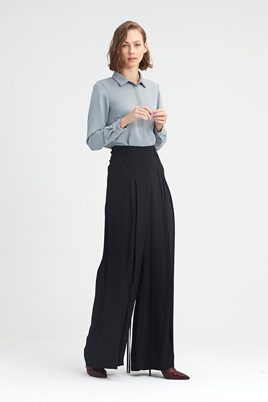 MIZALLE İp Sarkıtlı Pantolon (Siyah) (1)