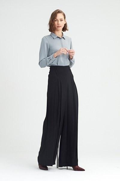 MIZALLE - İp Sarkıtlı Pantolon (Siyah) (1)