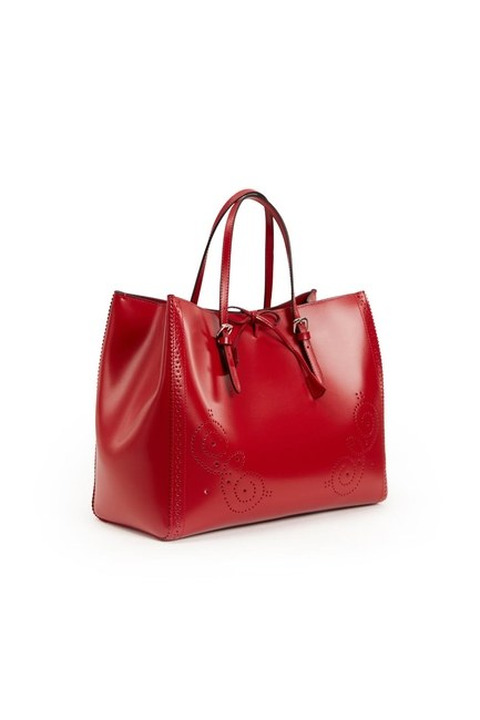 Embroidered Leather Large Handbag (Red) - Thumbnail