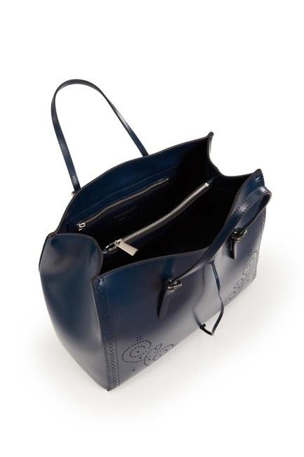 حقيبة جلدية كبيرة مطرزة (الأزرق الداكن) - Thumbnail