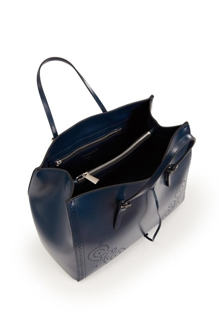 Embroidered Leather Large Handbag (Navy Blue) - Thumbnail