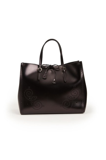 MIZALLE - حقيبة يد جلدية كبيرة مطرزة (أسود) (1)