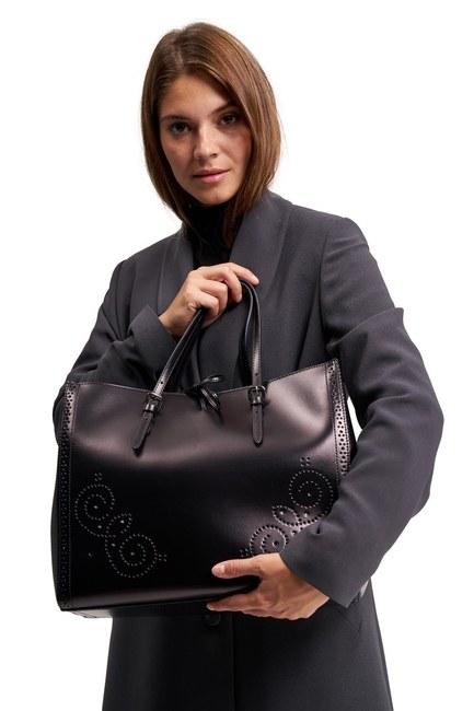 حقيبة يد جلدية كبيرة مطرزة (أسود) - Thumbnail