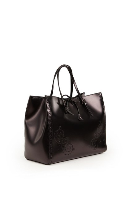 Embroidered Leather Large Handbag (Black) - Thumbnail