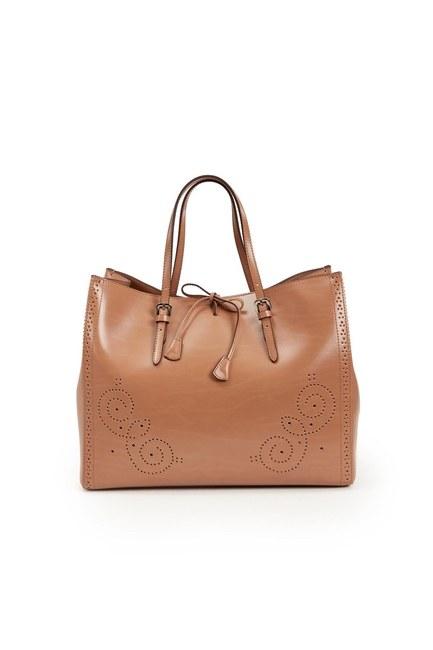 حقيبة يد جلدية كبيرة مطرزة (تان) - Thumbnail