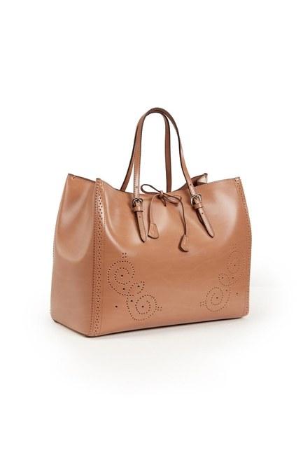 Embroidered Leather Large Handbag (Tan) - Thumbnail