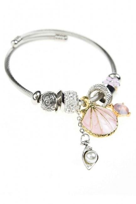 MIZALLE - Oyster Bracelet (Pink) (1)