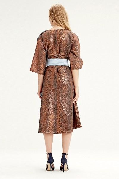 فستان قماش جاكار(لون قرميدي) - Thumbnail