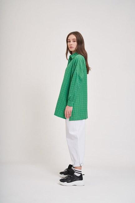 MIZALLE YOUTH - Jacquard Loose Shirt (Green) (1)