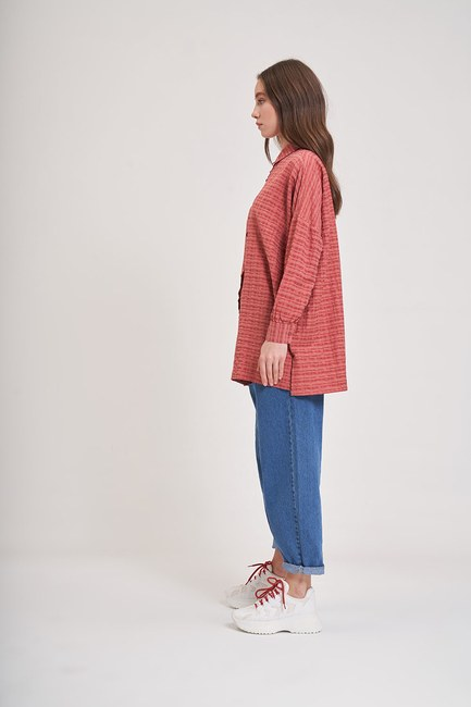 MIZALLE YOUTH - Jacquard Loose Shirt (Red) (1)