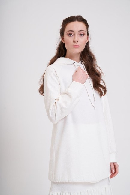 MIZALLE - Jacquard Patterned Sweatshirt (Ecru) (1)