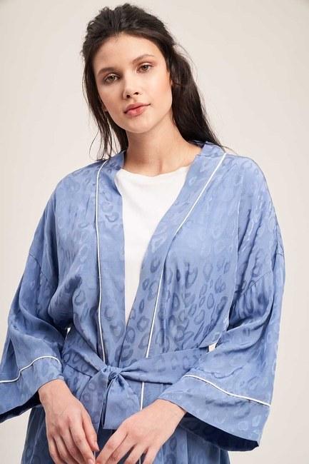 Jakar Desenli Kimono Takımı (İndigo) - Thumbnail