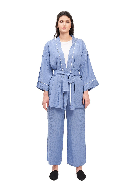 Jakar Desenli Kimono Takımı (İndigo)