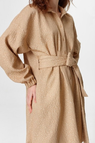 Jacquard Detailed Tunic Dress (Beige) - Thumbnail