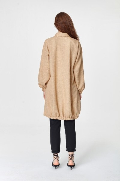 Jakar Desenli Kuşaklı Tunik Elbise (Bej) - Thumbnail