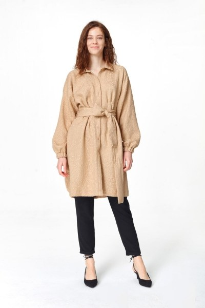 MIZALLE Jakar Desenli Kuşaklı Tunik Elbise (Bej)