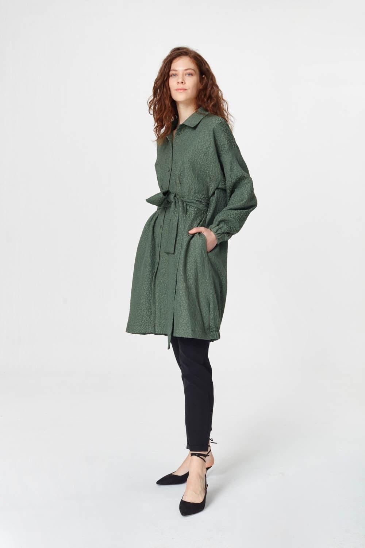 MIZALLE فستان تونك مع أنماط جاكار وحزام (الكاكي) (1)