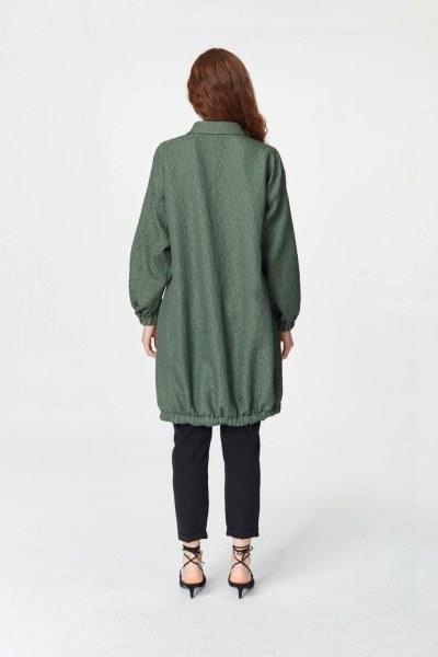 Jakar Desenli Kuşaklı Tunik Elbise (Haki) - Thumbnail