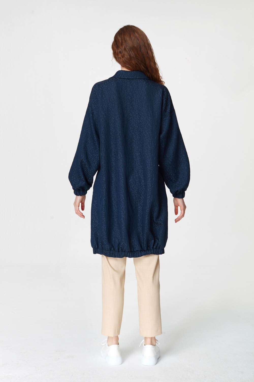 Jakar Desenli Kuşaklı Lacivert Tunik Elbise