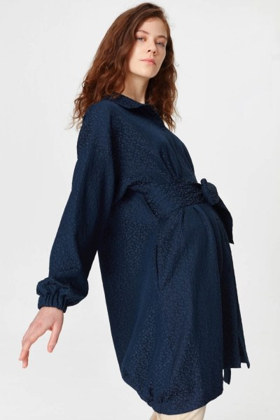 فستان تونك مع أنماط جاكار وحزام (الأزرق الداكن) - Thumbnail