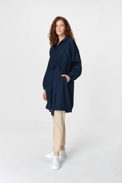 MIZALLE - Jacquard Detailed Tunic Dress (Navy Blue) (1)