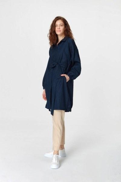 MIZALLE - Jakar Desenli Kuşaklı Tunik Elbise (Lacivert) (1)