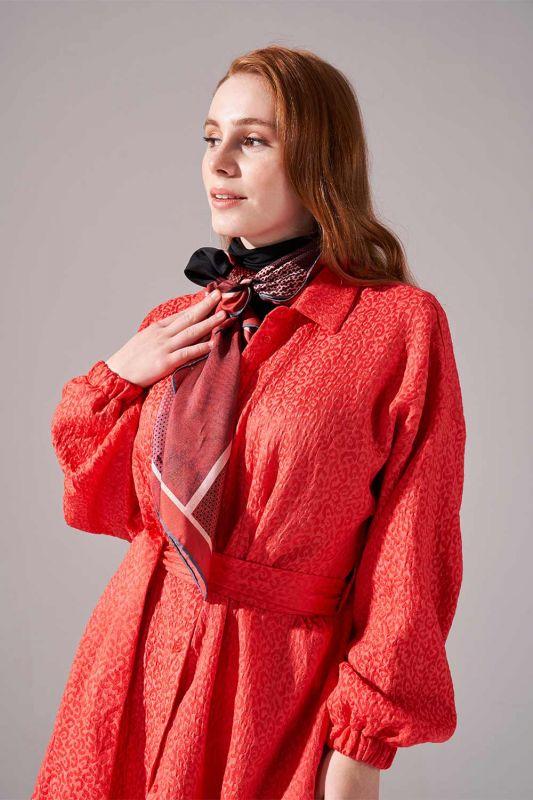 Jakar Desenli Kuşaklı Tunik Elbise (Nar Çiçeği)