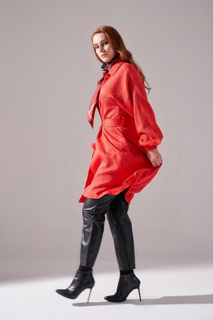 Jakar Desenli Kuşaklı Tunik Elbise (Nar Çiçeği) - Thumbnail