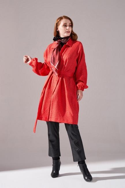 Mizalle - Jakar Desenli Kuşaklı Tunik Elbise (Nar Çiçeği)