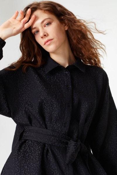 Jakar Desenli Kuşaklı Tunik Elbise (Siyah) - Thumbnail