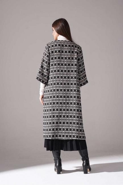 Jakar Desenli Uzun Kap Ceket (Siyah) - Thumbnail