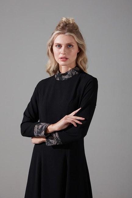 Jakar Detaylı Elbise (Bej) - Thumbnail