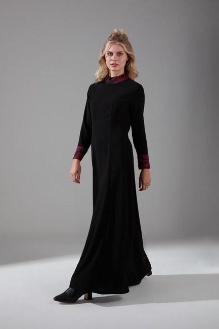 Mizalle - Jakar Detaylı Elbise (Bordo)