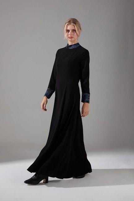Mizalle - Jakar Detaylı Elbise (İndigo)