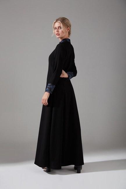Jakar Detaylı Elbise (İndigo) - Thumbnail