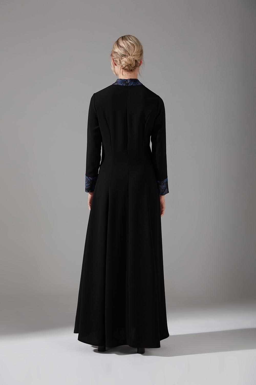 Jakar Detaylı İndigo Elbise