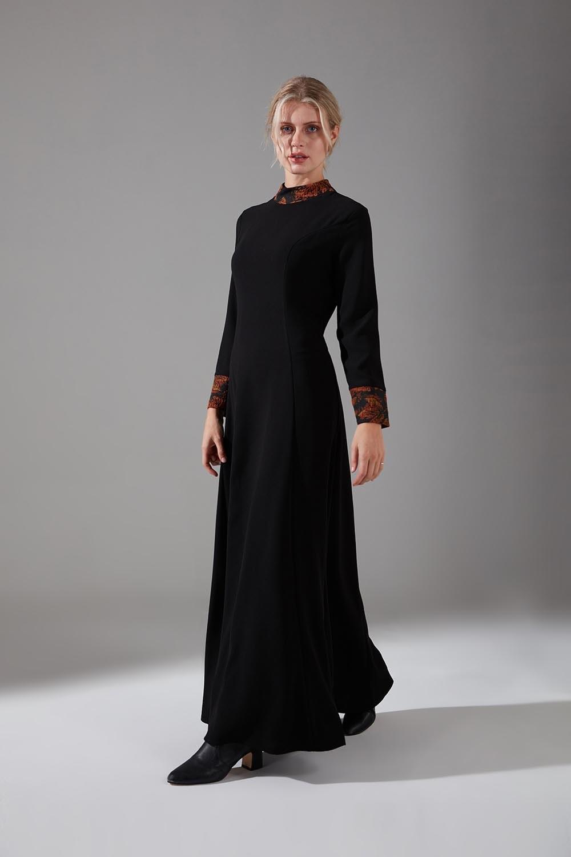 Jakar Detaylı Kiremit Elbise