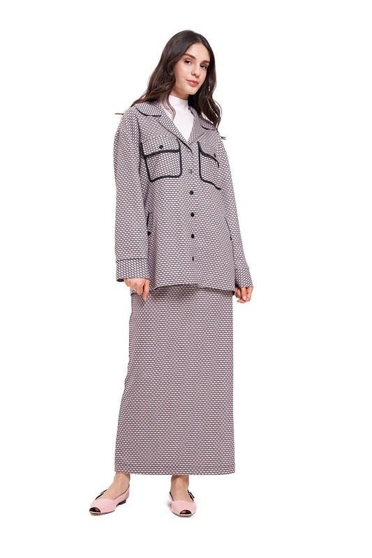 Jakar Dokulu Biyeli Ceket (Lila)